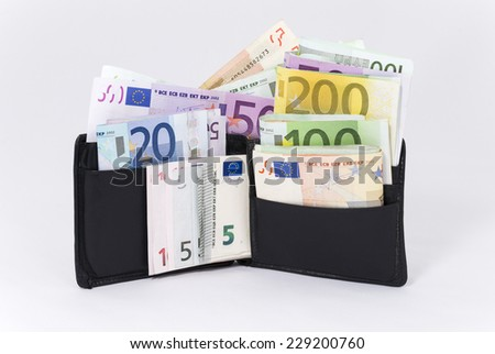 Wallet Full of Euros (photo with clipping path) - stock photo