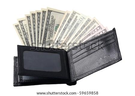 wallet full of hundred-dollar bills - stock photo