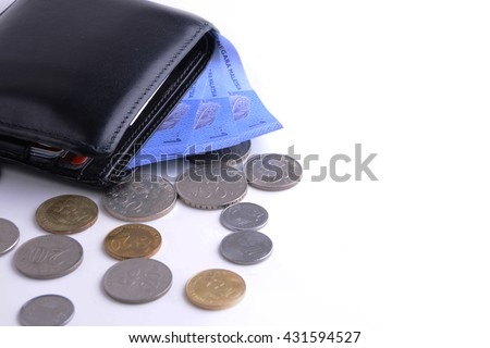 wallet full of money and coins