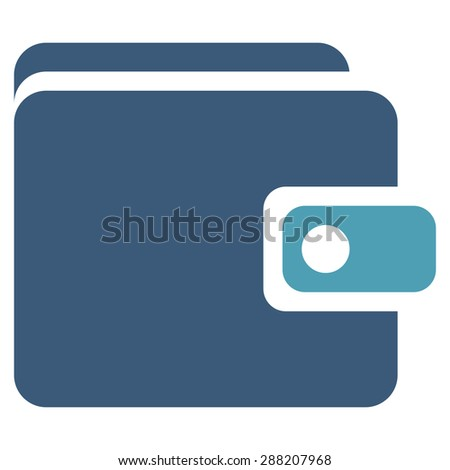 Wallet icon from Business Bicolor Set. This flat raster symbol uses cyan and blue colors, rounded angles, and isolated on a white background. - stock photo