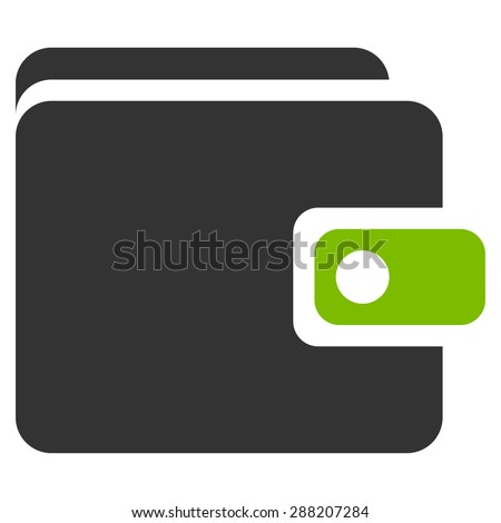 Wallet icon from Business Bicolor Set. This flat raster symbol uses eco green and gray colors, rounded angles, and isolated on a white background. - stock photo