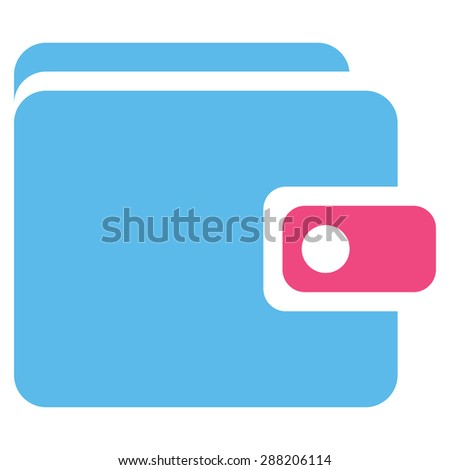 Wallet icon from Business Bicolor Set. This flat raster symbol uses pink and blue colors, rounded angles, and isolated on a white background. - stock photo