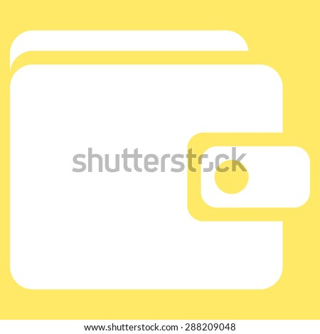 Wallet icon from Business Bicolor Set. This flat raster symbol uses white color, rounded angles, and isolated on a yellow background. - stock photo
