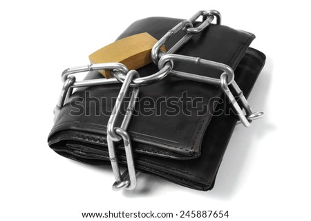 Wallet in chains and padlock on white background - stock photo