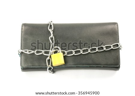 Wallet in chains and padlock on white background,concept saving money - stock photo