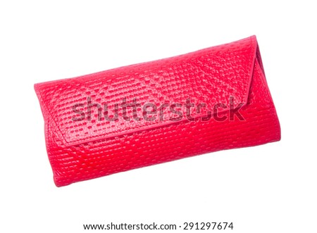wallet or purse woman (red colour) on a background - stock photo