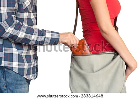 wallet snatching - stock photo