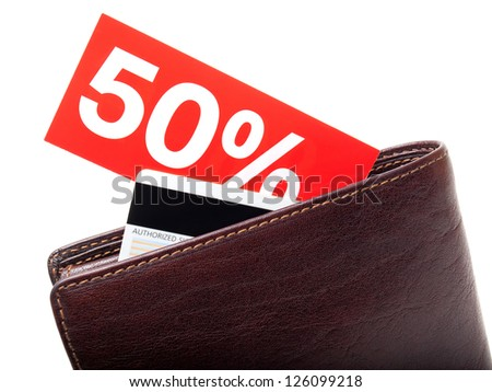 Wallet with a percentage discount label on a white background. - stock photo