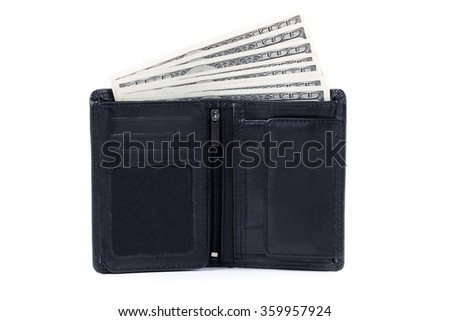 Wallet with American dollars on a white background  - stock photo
