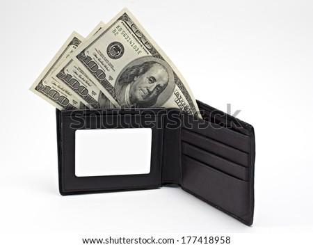 Wallet with American money isolated on white background - stock photo