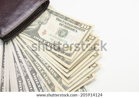 wallet with bank notes - stock photo