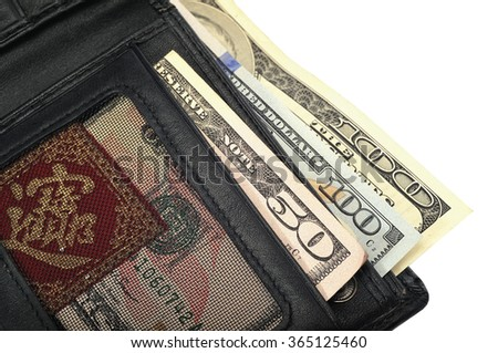 wallet with banknotes isolated on a white background
