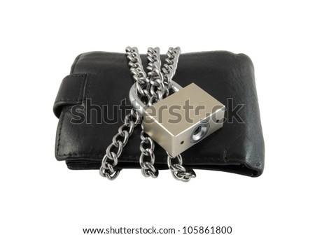 Wallet with chain and padlock isolated on white background - stock photo