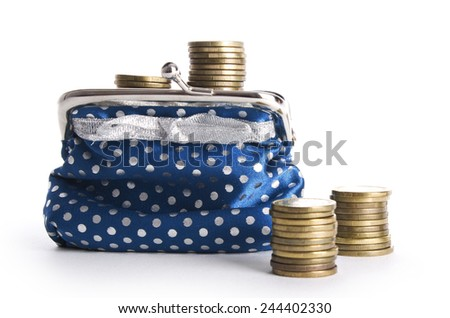 Wallet with coins isolated on white - stock photo