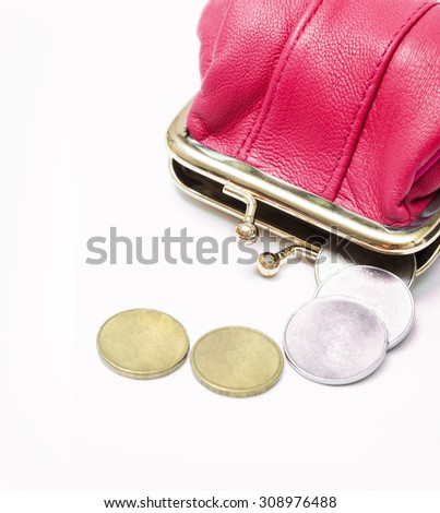 Wallet with coins on a white background