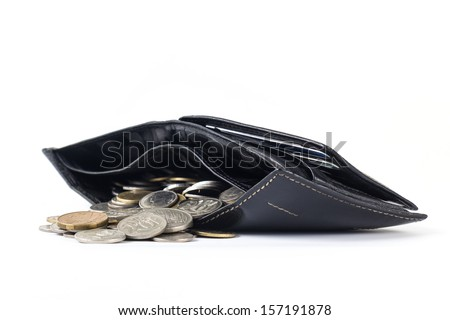 Wallet with coins spill out isolated on white background - stock photo