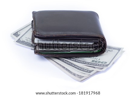 wallet with credit cards and cash on a white background