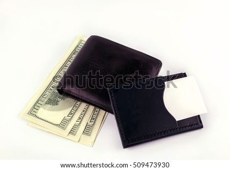 wallet with dollars  and clean business card isolated. place for your text. concept.