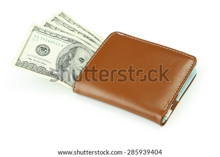 Wallet with dollars banknotes isolated on white - stock photo
