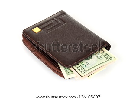 Wallet with dollars on a white background