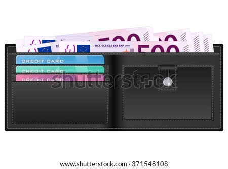 wallet with 500 euro banknote illustration.