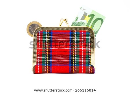 Wallet with euro coins and banknotes on a white background - stock photo