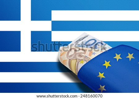 Wallet with Euro design and bills on greek banner background - stock photo