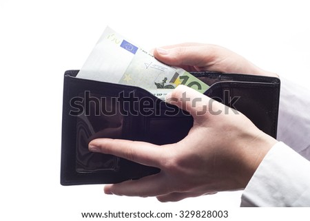 Wallet with euro isolated on white background