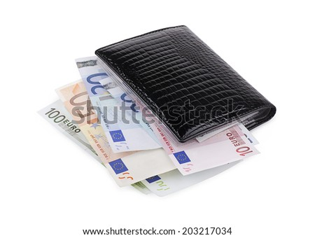 Wallet with euro on a white background - stock photo