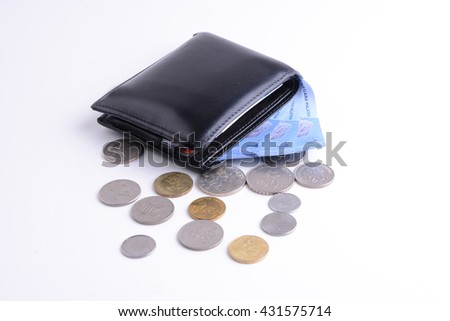 Wallet with full of money and coins