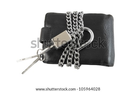 Wallet with keys, chain and padlock isolated on white background - stock photo