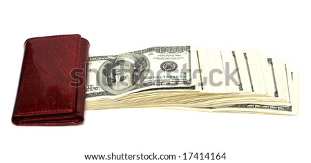wallet with many hundred dollars