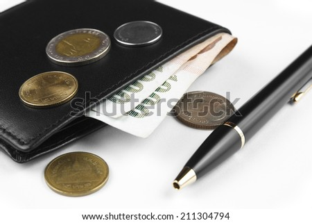 wallet with money and pen on white - stock photo