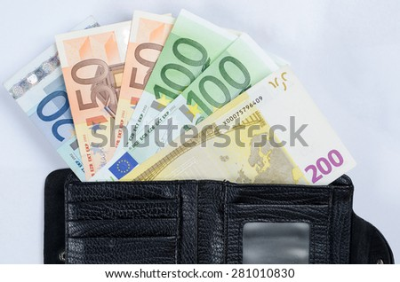 wallet with money euro