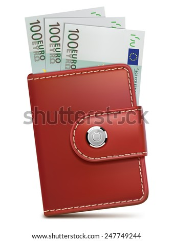Wallet with money, isolated. Illustration - stock photo