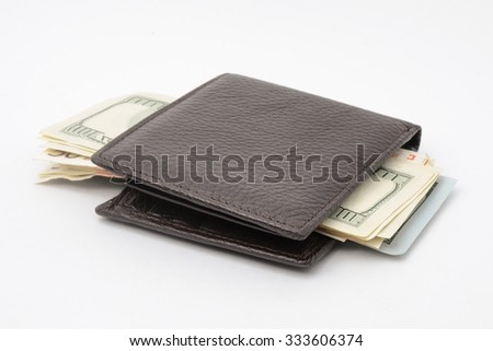 wallet with money isolated on white