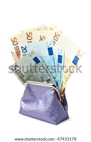 Wallet with money isolated on white background. Clipping path included - stock photo