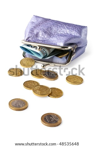 Wallet with pocket money (eurocents) isolated on white background - stock photo
