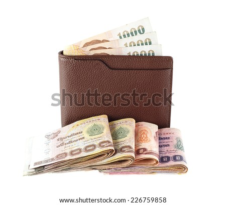 wallet with Thai money isolated on white background - stock photo