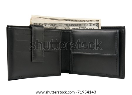 Wallet with US dollars isolated on white - stock photo