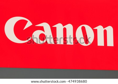 Wallisellen, Switzerland - 28 August, 2016: Canon logotype on the sign at the entrance to Canon Switzerland AG office. Canon is a multinational corporation manufacturing imaging and optical products.