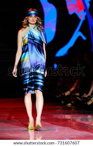 Wallo fashion models represent new Spring/Summer 2018 collection for men and women during runway presentation at Toronto Women Fashion Week on October 3, 2017 in Toronto, Canada