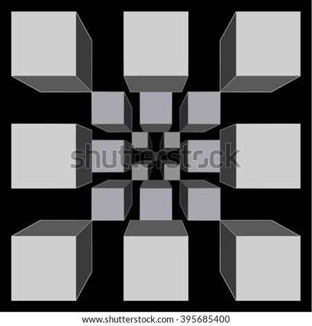 Wallpaper - cubic fractal - dark and grey - stock photo