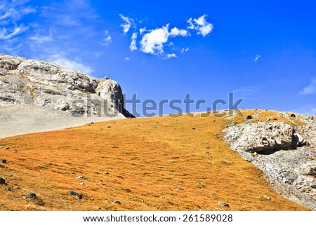 Wallpaper from the mountains. Picture was taken during trekking hike in the wonderful and scenic Caucasus mountains at autumn, Arhiz region, Abishira-Ahuba range,Karachay-Cherkessia, Russia - stock photo
