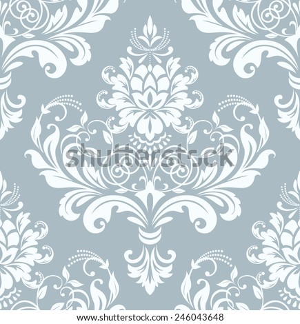 Wallpaper in the style of Baroque. A seamless  background. Damask floral pattern. - stock photo