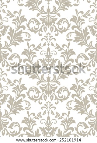 Wallpaper in the style of Baroque. A seamless  background. Floral ornament. Damask pattern. - stock photo