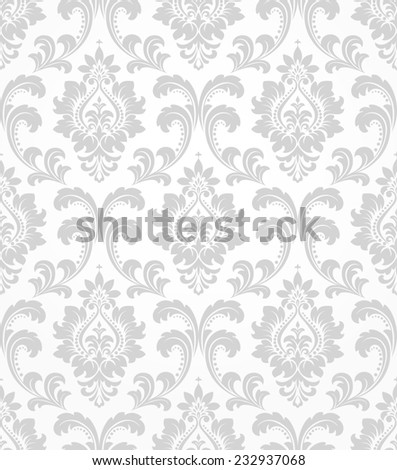 Wallpaper in the style of Baroque. A seamless  background. Gray and white texture. - stock photo