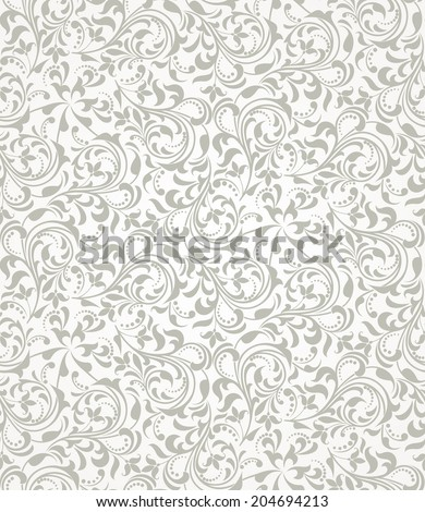 Wallpaper in the style of Baroque. A seamless background. Grey and white texture.