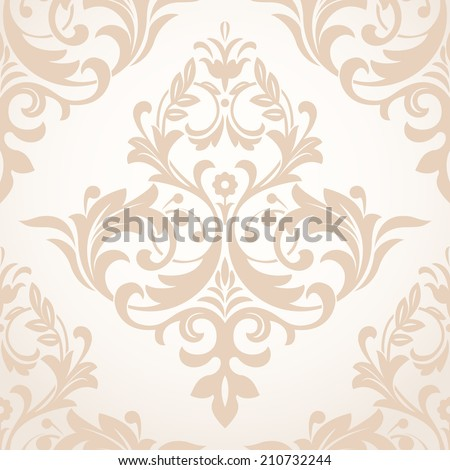 Wallpaper in the style of Baroque. A seamless beige background.