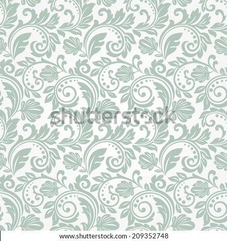 Wallpaper in the style of Baroque. A seamless bright background. - stock photo